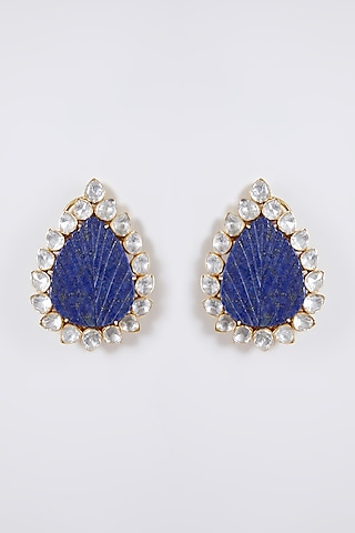 Gold Plated Earrings With Semi Precious Stones In Sterling Silver by IVORINE