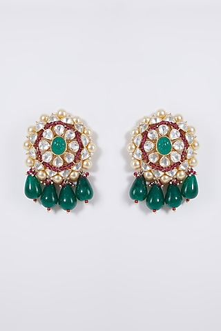 Gold Plated Floral Earrings In Sterling Silver by IVORINE
