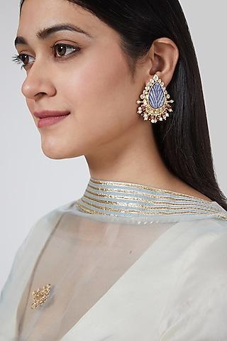 Gold Plated Kundan Polki Drop Earrings In Sterling Silver by IVORINE