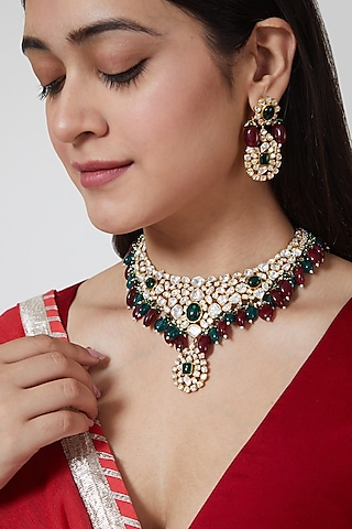 Gold Plated Kundan Polki Necklace Set In Sterling Silver by IVORINE