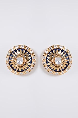 Gold Plated Meenakari Earrings In Sterling Silver by IVORINE