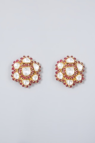 Gold Plated Ruby & Pearl Earrings In Sterling Silver by IVORINE