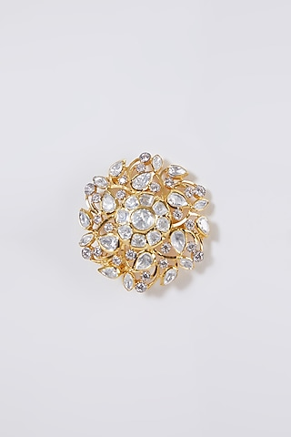 Gold Plated Diamond Ring In Sterling Silver by IVORINE