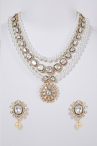 Gold Plated Diamond Necklace Set In Sterling Silver by IVORINE