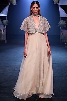 Nude Handcrafted Gown With Embroidered Cape by Jade by Monica and Karishma