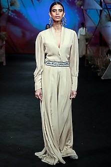 Nude Jumpsuit With Embroidered Belt by Jade by Monica and Karishma
