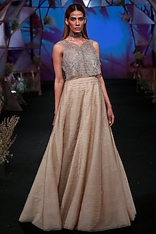 Nude Off Shoulder Gown With Silver Jacket by Jade by Monica and Karishma