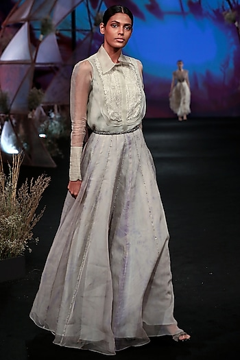 White Shirt With Tie-Dye Skirt by Jade by Monica and Karishma