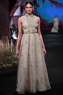 Nude Printed & Embroidered Gown by Jade by Monica and Karishma