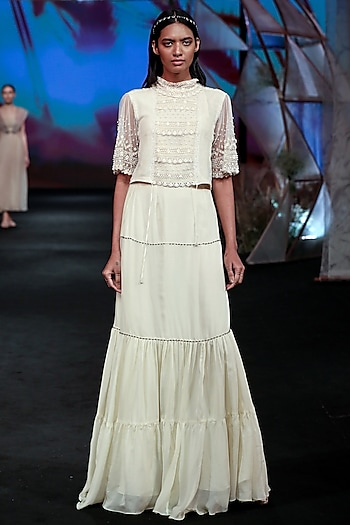 White Embellished Crop Top With Tiered Skirt by Jade by Monica and Karishma