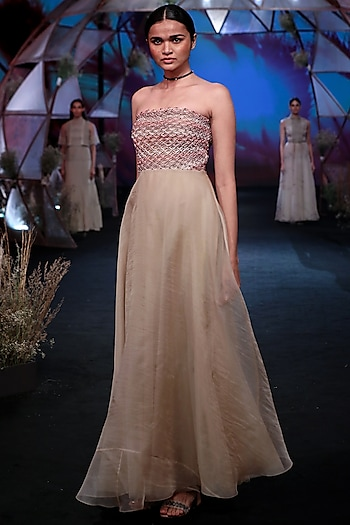 Nude Macrame Chiffon Gown by Jade by Monica and Karishma