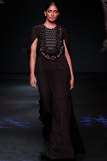 Black Tiered Macrame Gown by Jade by Monica and Karishma