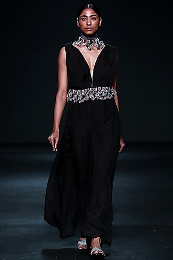 Black Gown With Embellished Macrame Belt by Jade by Monica and Karishma