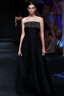 Black Embellished Macrame Gown by Jade by Monica and Karishma