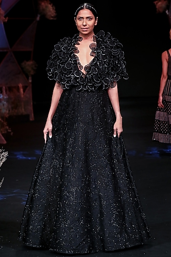 Black Embellished Gown With Cape by Jade by Monica and Karishma