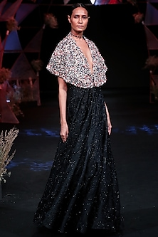 Black Handcrafted Gown With Embellished Cape by Jade by Monica and Karishma