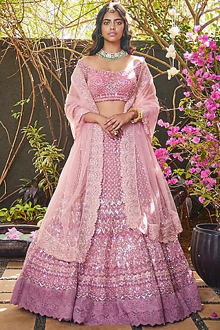 Blush Pink Embroidered Lehenga Set by Jade By Monica And Karishma