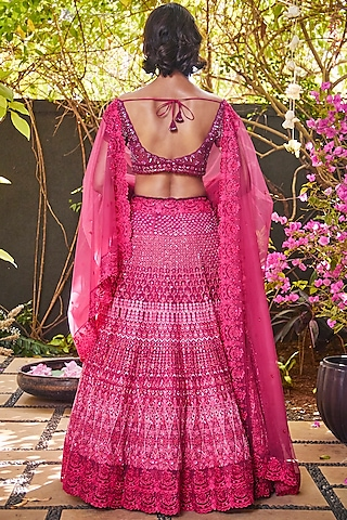 Hot Pink Embroidered Lehenga Set by Jade By Monica And Karishma