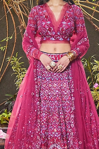 Rose Pink Embroidered Lehenga Set by Jade By Monica And Karishma