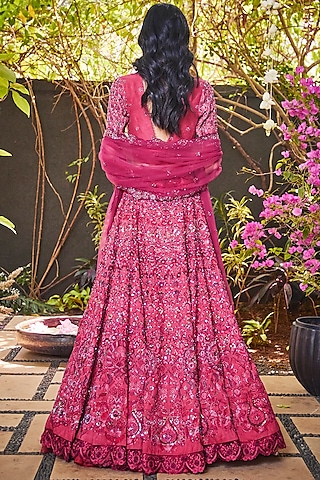 Rose Pink Sequins Embroidered Lehenga Set by Jade By Monica And Karishma