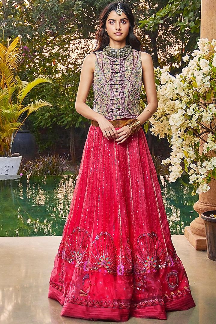 Red Hand Embroidered Ek Taar Lehenga Set by Jade by Monica and Karishma