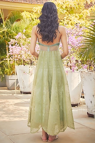 Green Lace Embroidered Midi Dress by Jade by Monica and Karishma