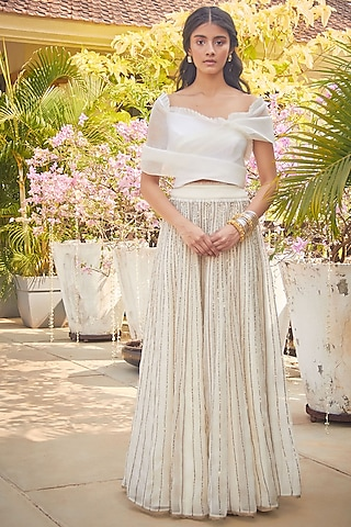 White Organza Sequins Skirt Set by Jade by Monica and Karishma