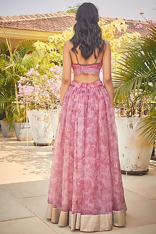 Pink Handcrafted & Printed Lehenga Set by Jade by Monica and Karishma