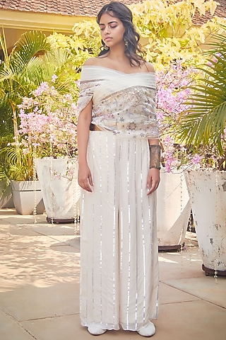 Ivory Hand Embroidered Palazzo Pant Set by Jade by Monica and Karishma