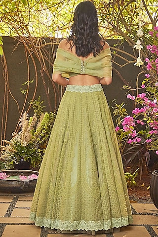 Green Embroidered Lehenga Set by Jade by Monica and Karishma