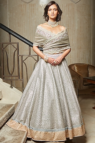 Silver Hand Embroidered Lehenga Set by Jade by Monica and Karishma