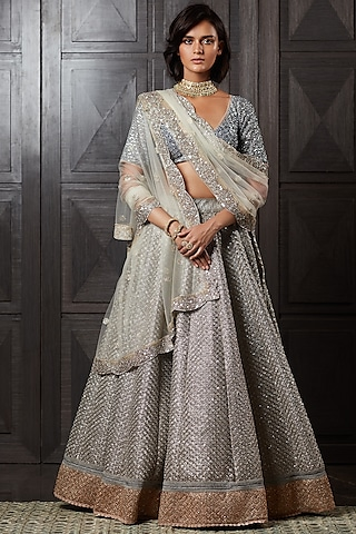 Silver Embroidered Lehenga Set by Jade by Monica and Karishma