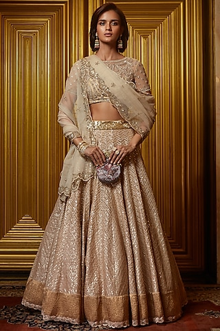 Golden Lehenga Set With Sequins Work by Jade by Monica and Karishma