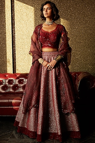 Marsala Brown Embellished Lehenga Set by Jade by Monica and Karishma