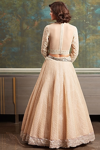 Ivory Embroidered Lehenga Set by Jade by Monica and Karishma