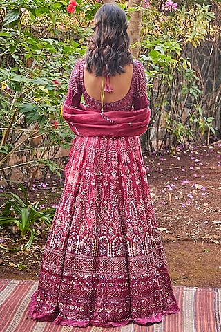 Garnet Red Crystals Embroidered Lehenga Set by Jade by Monica and Karishma