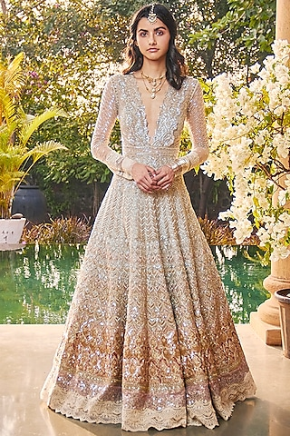 Ivory & Golden Metallic Ombre Gown by Jade by Monica and Karishma