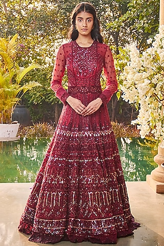 Marsala Red Embroidered Gown by Jade by Monica and Karishma