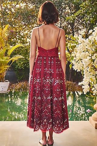 Marsala Red Midi Dress by Jade by Monica and Karishma