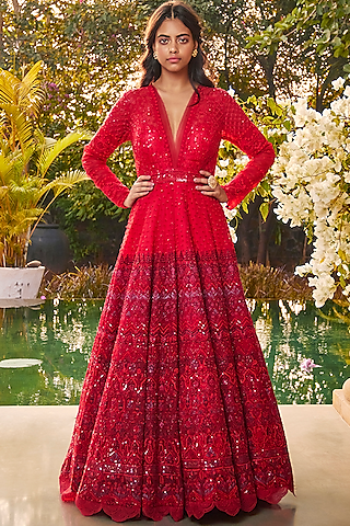 Red Ombre Embroidered Gown by Jade by Monica and Karishma