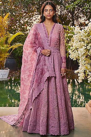 Pink Anarkali With Embroidered Dupatta by Jade by Monica and Karishma