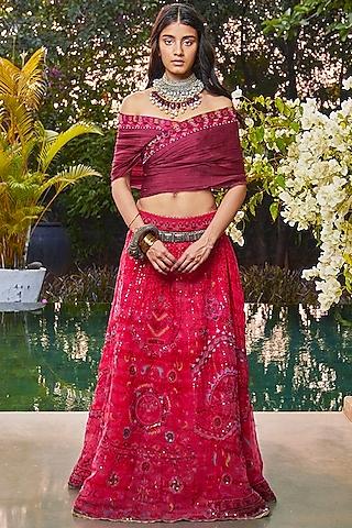 Red & Maroon Handcrafted Ek Taar Lehenga Set by Jade by Monica and Karishma