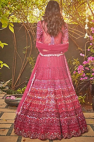 Garnet Red Embroidered Lehenga Set by Jade by Monica and Karishma