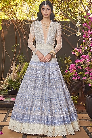 Ivory & Aegean Blue Gown With Sequins Work by Jade by Monica and Karishma