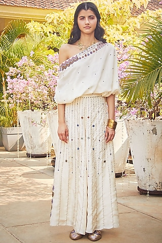 White Hand Embroidered Palazzo Pant Set by Jade by Monica and Karishma
