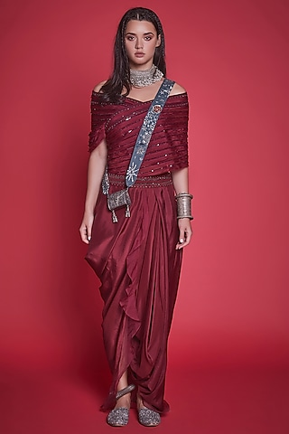 Marsala Red Embroidered Dhoti Set by Jade By Monica And Karishma