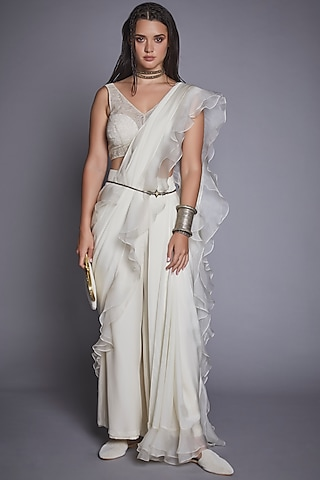 Off White Ruffled Pant Saree Set by Jade By Monica And Karishma