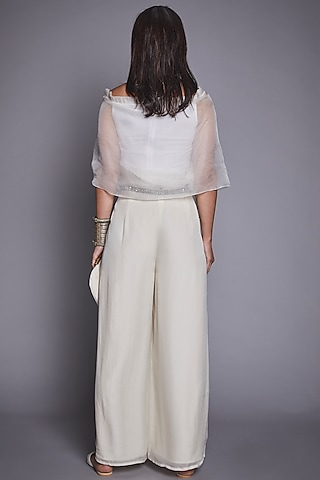 White Crepe Silk Palazzo Pant Set by Jade By Monica And Karishma