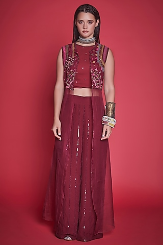 Maroon Embroidered Cape Set by Jade By Monica And Karishma