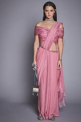 Dusty Pink Organza & Chiffon Pant Saree Set by Jade By Monica And Karishma